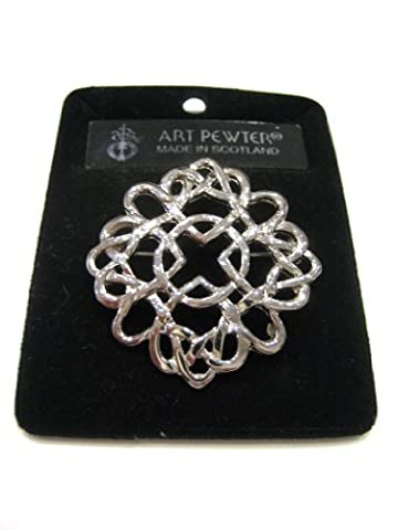 100% Pewter Celtic Swirl Point Brooch, By Art Pewter