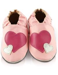 Snuggle Feet - Chaussons Bébé en Cuir Doux - Cœur Rose et Argent