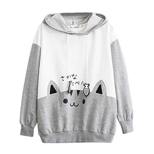 TAMALLU Damen Sweater Komfort Kapuzenpullover Bedruckte Elegante Knoten Oberbekleidung(Grau,M) -