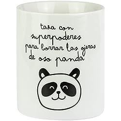 """Mr. Wonderful WOM00025 Taza con """"Superpoderes para borrar las ojeras de oso panda"""", Compuesto, Multicolor, 9.3000000000000007x10.9x7.6 cm"""