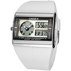 Ohsen YI-AD0518-3 Fashion Digital Chronograph Analogue Rubber Strap Watches White