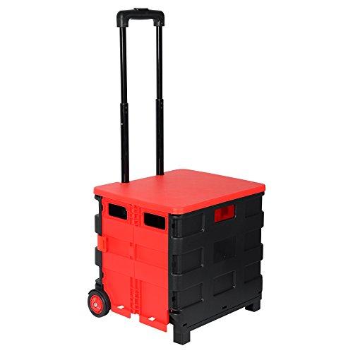 WOLTU EW4802rt Einkaufswagen 64L Einkaufstrolley Einkaufsroller Shopping Trolley klappbar bis 35kg mit Deckel Schwarz-Rot