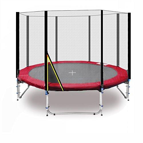 Deluxe Trampolín profesional de jardín - trampolín - trampolín xxl - trampolines para niños - varios tamaños y colores (Rojo, 305cm con Escalera, & Ancla)