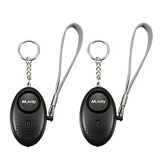 M.Way Personaler Alarm, 2 Stück Persönlicher Mini Alarm 130DB Sicherheitsalarm LED Taschenlampe SOS Notfall Schlüsselbund Notfallalarm Schlüsselanhänger für Kinder, Frauen, ältere Menschen Schwarz