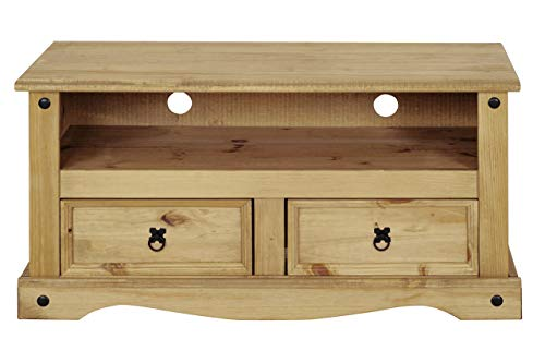 Flat Screen TV Unit | TV Stand | Corona Mexican Pine TV Table | 2 Drawers | Rustic Design by House...