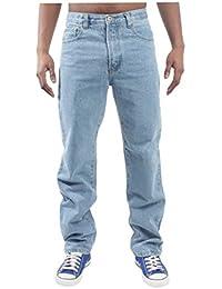 Mens Blue Circle Jeans Lourds Vêtements Base Droite Regular Fit Light Wash/jeans 28-60