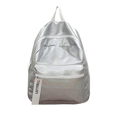 Manadlian Unisex Mode Weich Leder Schule Rucksack Tasche Rucksack Rucksack Klappe Tasche Reißverschluss Einfarbig Handtasche Bookbag (Silber) -