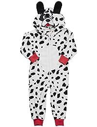 ONEZEE Infant Toddler Girls Hooded Novelty Dalmatian Jumpsuit Flannel Fleece Age 2-13 UK