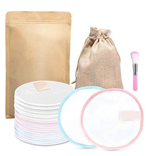 FISHOAKY 12 Waschbare Abschminkpads | Abschminktücher aus Bambus & Baumwolle | Umweltfreundlich | Wattepads Wiederverwendbar mit Make Up Pinsel | Gesichtsreinigung | Less Waste (White) -