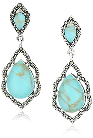 Sterling Silver Marcasite and Synthetic Turquoise Doublet Drop