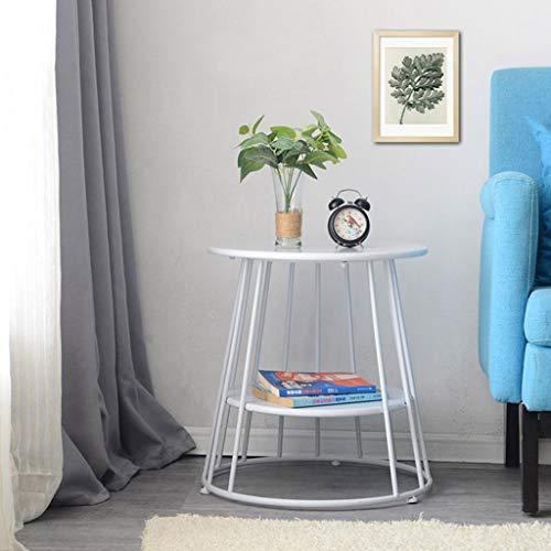 M-JH Table d'appoint, Fer Balcon Petite Table Basse Canapé Côté Salon Petite Ronde Double Couche Multifonction (Couleur : Blanc, Taille : 47cm)