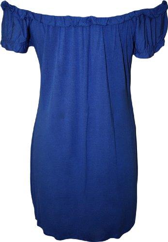WearAll - Haut long et froncé qui dégage les épaules - Hauts - Femmes - Grandes tailles 42 à 56 Bleu royal