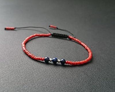 Bracelet homme/femme perles naturelles de corail rouge et lapis lazuli