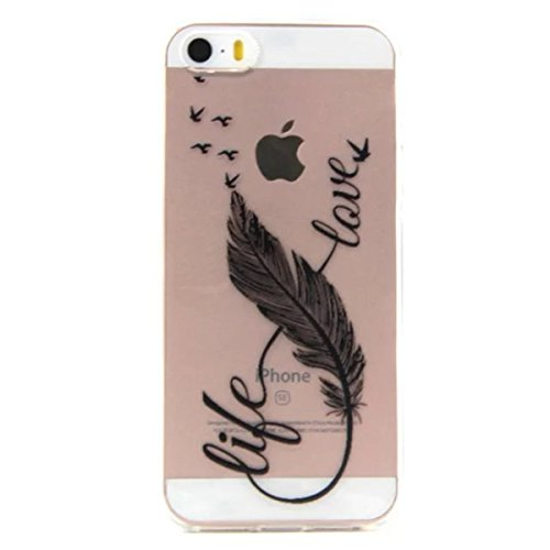 iPhone 5S Coque, iPhone SE Coque, Lifeturt [ Dreamcatcher Feather ] Housse Anti-dérapante Absorbant Chocs Protection Etui Silicone Gel TPU Bumper Case pour iPhone SE/5s/5 E02-Plume
