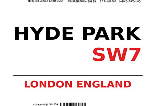 English street sign, London tin sign, schild aus blech, strassenschild Hyde Park London SW7 - white