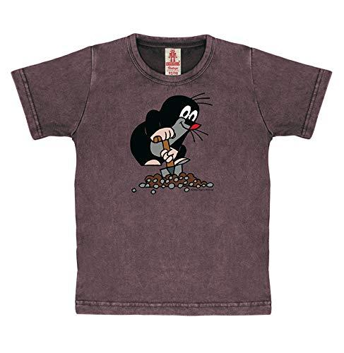 Logoshirt TV - Cartoon - Der kleine Maulwurf - Schaufel - Vintage T-Shirt Kinder - traubenrot - Lizenziertes Originaldesign, Größe 92/98, 2-3 Jahre