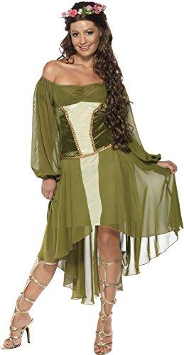 Holde Maid Kostüm Grün mit Kleid und Haarblumenkranz, (Holde Maid Kostüme)