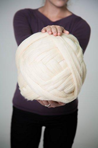 Filato, 100% lana, 23micron. Braccio maglia, Roving, tessitura, Ivory