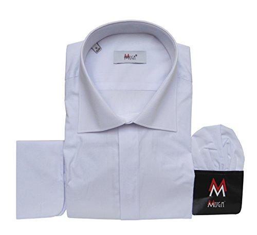 Herrenhemd mit Umschlagmanschetten leicht tailliert Muga Weiß