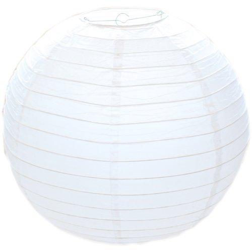 Weiß, Rund, Papier Bambus Stil Gerippter Lampenschirm 30cm/30,5cm