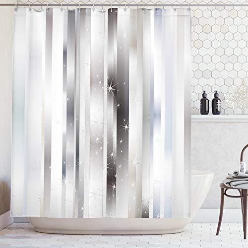 ABAKUHAUS Duschvorhang, Moderne Komposition Vertikalen Verschiedene Silber Tönen Farbbänder und Lebendige Sternfiguren, Blickdicht aus Stoff mit 12 Ringen Waschbar Langhaltig Hochwertig, 175 X 200 cm (Silber Farbband)