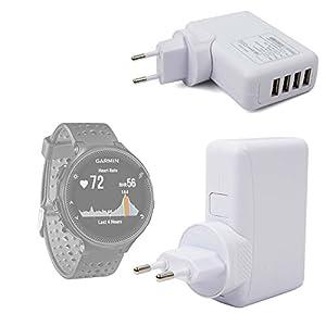 DURAGADGET Cargador De Viaje para Smartwatch Garmin Forerunner 235 / Polar V800 - con 4 Puertos USB Y Enchufe Europeo - En Color Blanco