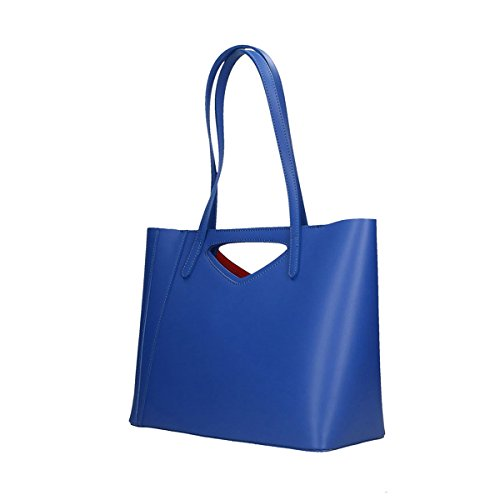 Chicca Borse Borsa a tracolla in pelle 40x38x14 100% Genuine Leather Blue