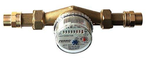 Ferro Compteur d'eau pour maison et jardin 22 mm cuivre à souder 4 m3/h antimagnétique