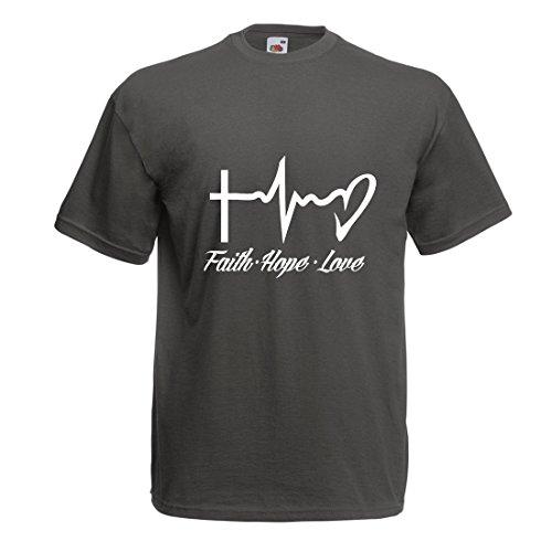 lepni.me Männer T-Shirt Glaube - Hoffnung - Liebe - 1. Korinther 13:13, Christliche Zitate und Sprichwörter, Religiöse Sprüche (Large Graphit Mehrfarben)