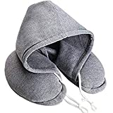 Soft Comfortable Hooded Neck Travel Pillow U Shape Airplane Neck Support Cushion