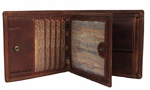 Geldbörse Herren Leder mit RFID Schutz geräumiges Portemonnaie Brieftasche Portmonee vintage Geldbeutel mit Münzfach Wallet in Geschenk-box Echt-Leder Kartenetui braun von Corno d´Oro 43007W (Herren-geldbörse Bi-fold)