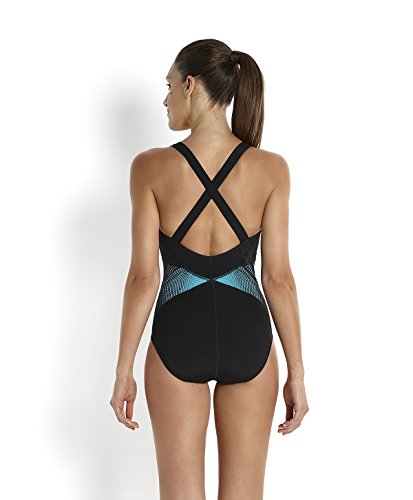 Speedo Spdfit Pinnacle Xbck Af Costume da Bagno Adulto Nero/Bali Blu/Oro