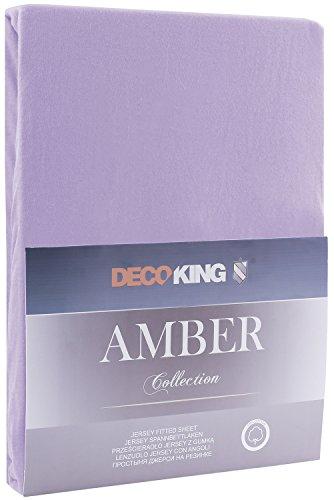 DecoKing 18170 80x200-90x200 cm Spannbettlaken violett 100% Baumwolle Jersey Boxspringbett Spannbetttuch Bettlaken Betttuch Violet Amber Collection - 2