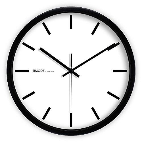 Gyuhanlt quarzo classico non ticchettio silenzioso sweeping secondi orologio da parete rotondo a pile eay da leggere per soggiorno camere da letto cucine, casa / ufficio / scuola / barbordo bianco e nero tradizionale, nero, 12 pollici