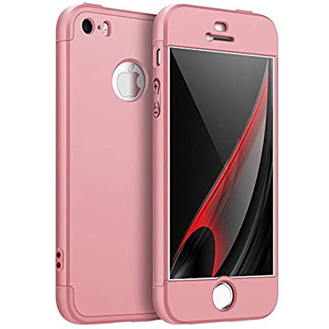 iPhone 5S Case,iPhone SE cover TXLING 360 Degree Protection 3 in 1 Slim Cover Shockproof Shell Full Body Coverage Protection Case For iPhone 5S 5 SE - Pink