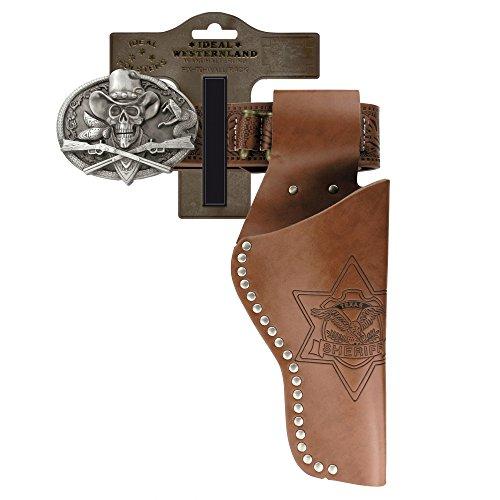 J.G.Schrödel Gürtel Skull mit Nieten und 1 Pistolengürtel aus Lederimitat und Metall für Spielzeugpistolen,95–135 cm, Hellbraun (750 ()