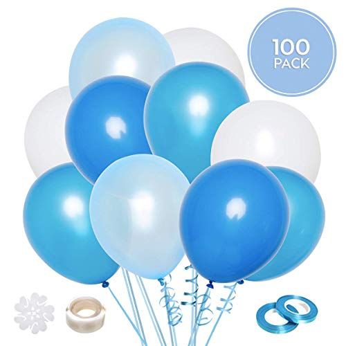 Set de 100 globos azules y blancos + 100m cinta | 5 Colores distintos | Globos de látex de 12 pulgadas | Decoración para cumpleaños, comunion, bautismos y baby shower