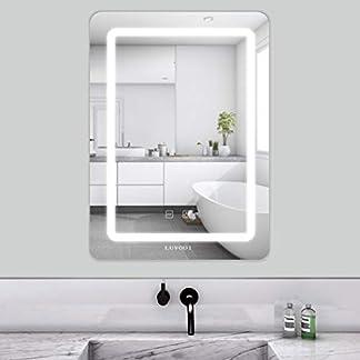LUVODI Espejo de Baño con Iluminación LED Espejo de Pared con Interruptor Táctil