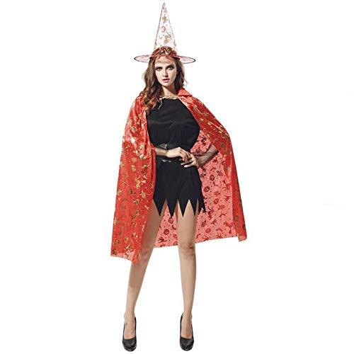 (BHXUD Halloween-Kostüm Erwachsene Kürbis-Mantel Show Ball Kürbis Cape Hat,Red)