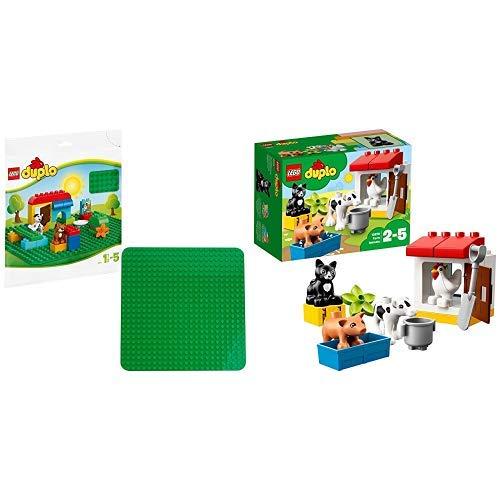 LEGO Duplo 2304 - Große Bauplatte Kreatives Vorschulspielzeug, grün &  Duplo 10870 - Tiere auf dem Bauernhof, Lernspielzeug (Platte Tier -)