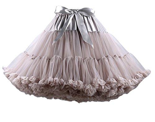 Donna multistrato Ruffle Frilly Petticoat Bubble Gonna Tutu Ballet Principessa Tutù Di Tulle Gonna Leggero Grigio