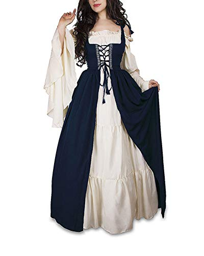 Guiran Damen Mittelalterliche Kleid mit Trompetenärmel Mittelalter Party Kostüm Maxikleid Blau S
