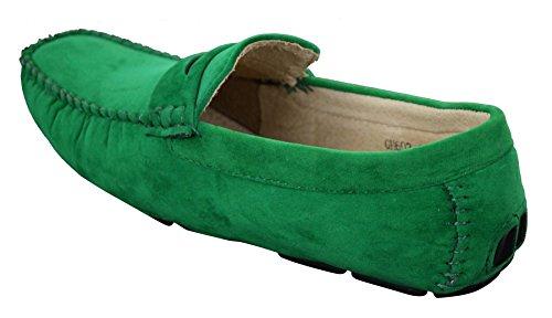 Mocassins homme simili daim et véritable cuir sans lacets style chic et décontracté marron beige vert Vert