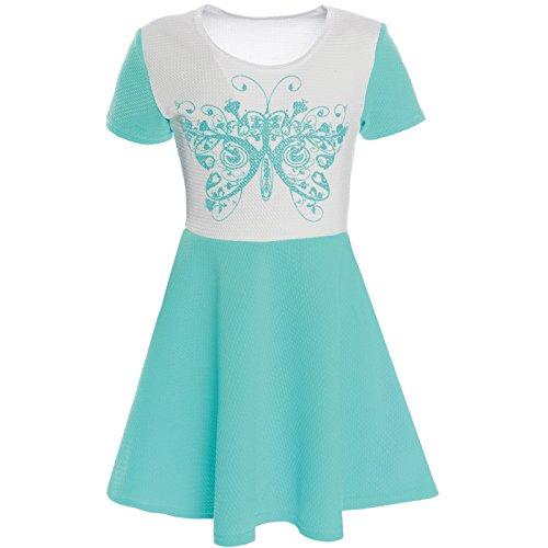Kinder Mädchen Kleid Peticoat Fest Freizeit Sommer-Kleid 21227, Farbe:Türkis;Größe:104