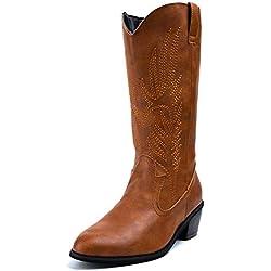 Botas Cowboy Mujer con Tacon Botas Moda Western Cuero Imitación Zapatos Invierno Altas Vaquero Talón Bloque 5.3 CM Marrón 40