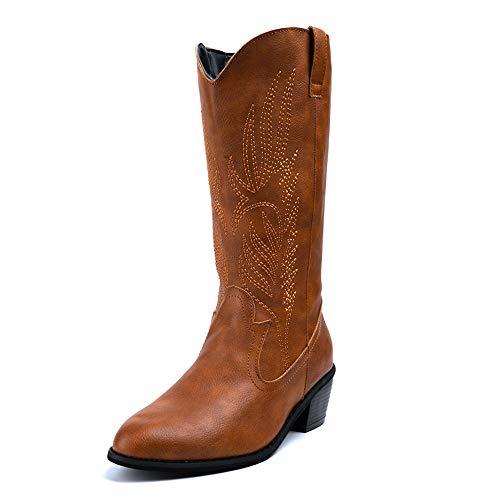 Botas Cowboy Mujer con Tacon Botas Moda Western Cuero Imitación Zapatos Invierno Altas Vaquero Talón Bloque 5.3 CM Marrón 39