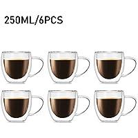 Tasse Double Paroi Verre à Café 250 ML, Tasse Isolant en Verre Borosilicate à Café, Desserts, Cappuccino, Chocolat, Brandy, Lot de 6