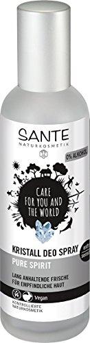 SANTE Naturkosmetik Kristall Deo Spray, Mindert Schweißproduktion, Mild & hautverträglich, Ohne Alkohol, Vegan, - Kristalle Körper