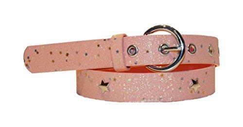 Preisvergleich Produktbild EANAGO Kindergürtel 'Superstar pink' für Mädchen (Kindergarten- und Grundschulkinder, 5-10 Jahre), 65 cm, rosa/pink glitzernd