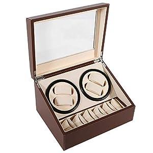 4+6 Uhrenbeweger PU Leather Watch Winder Automatisch Uhren Box Case EU Adapter